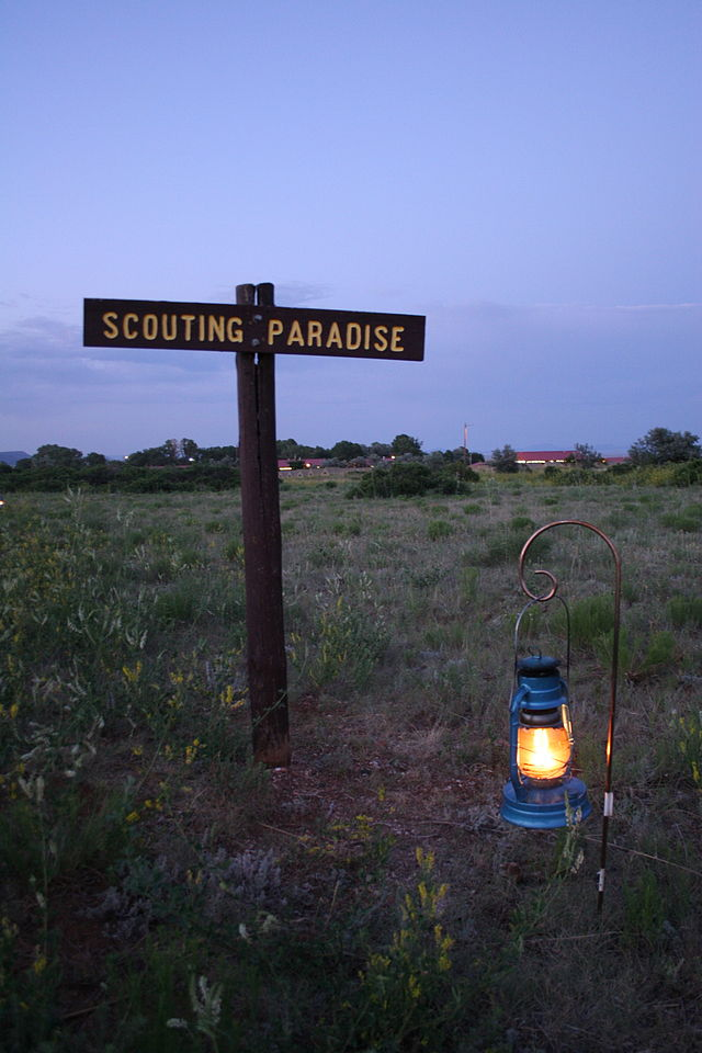 The object had four round, glowing globes. Pictured: A sign on the way to the closing campfire. (Credit: Wikimedia Commons)