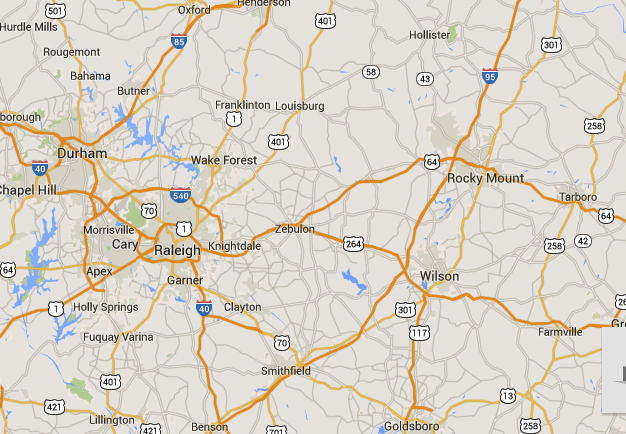 Rocky Mount is about 57 miles east of Raleigh, NC. (Credit: Google)
