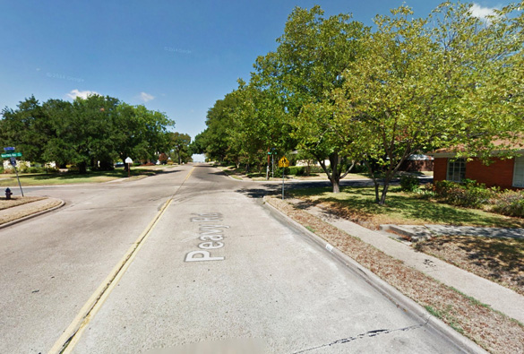 The witness was walking near Northlake and Peavy streets in Dallas, TX, pictured, when the object was first seen – just minutes before it appeared to take a nose dive to the ground level at an estimated speed of Mach 1. (Credit: Google)