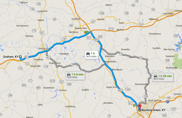Graham is about 60 miles northwest of Bowling Green, Kentucky. (Credit: Google Maps)