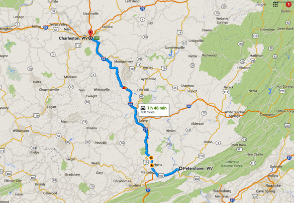 Peterstown is about 100 miles southeast of Charleston, West Virginia. (Credit: Google Maps)