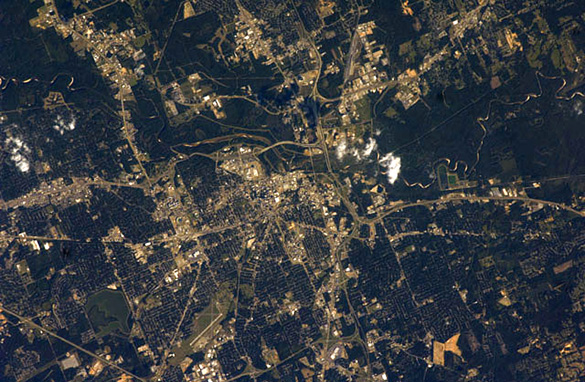 Photo of Jackson, MS, taken from the International Space Station. (Credit: Wikimedia Commons)