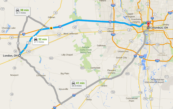 London is about 30 miles west of Columbus, Ohio. (Credit: Google)