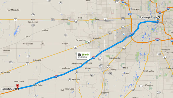 Greencastle is about 35 southwest of Indianapolis, IN. (Credit: Google Maps)
