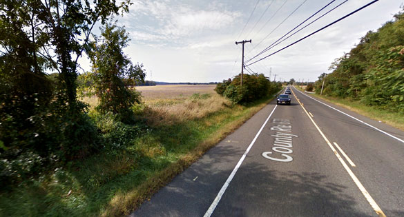 The witness stopped when he realized the UFO was hovering just 40 feet away along a rural right, like the one pictured here, within five miles of Joint Base MDL. (Credit: Google)