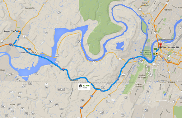 Jasper is about 27 miles directly west of Chattanooga, TN. (Credit: Google Maps)