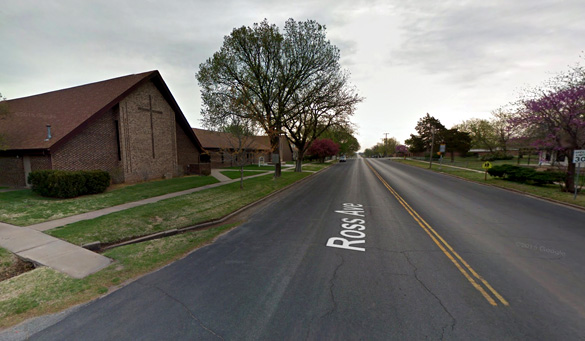 The object eventually turned off the light and moved away, leaving the passengers feeling nauseated. Pictured: Facing east in Clearwater, Kansas. (Credit: Google Maps)