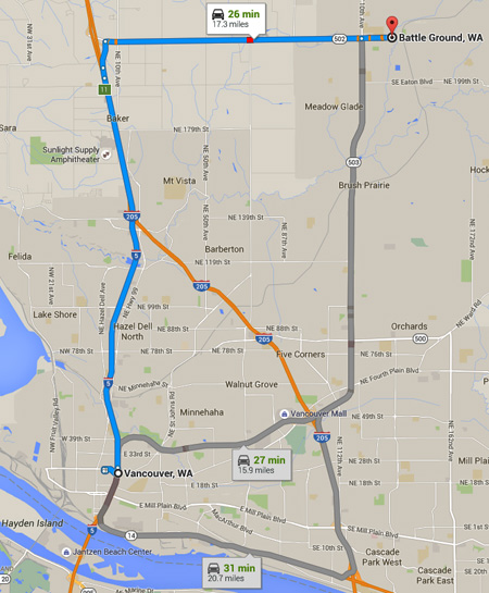 Battle Ground is about 16 miles northeast of Vancouver, WA. (Credit: Google)