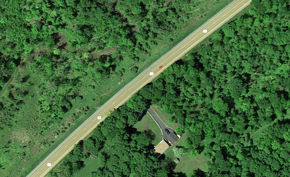 The couple had to stop their vehicle along Route 11 to avoid driving underneath the two UFOs. (Credit: Google)