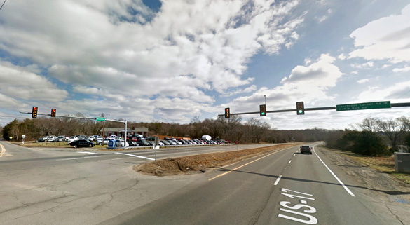 The witness was about 100 feet from the intersection, pictured, when the incident occurred. (Credit: Google)