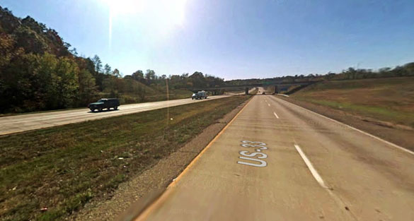 The object was seen for about two hours. Pictured: A portion of Route 50 overlapping with Route 33 in Athens. (Credit: Google)
