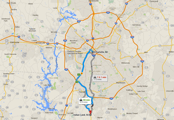 Indian Land is about 20 miles directly south of Charlotte, South Carolina. (Credit: Google)