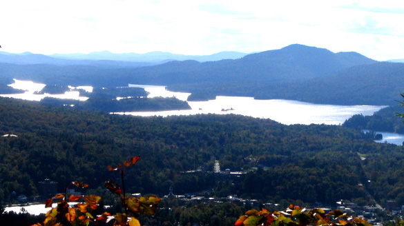The sighting lasted about five minutes. Pictured: The village of Saranac Lake, bottom, with Lower Saranac Lake, above, from Baker Mountain, to the east. Lake Flower is at lower left. (Credit: Wikimedia Commons)
