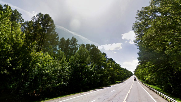Approximately area where the witness was driving when the object was first seen. (Credit: Google)