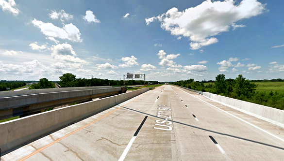 The object then appeared to be disc-shaped, and shot directly vertical at high speed. Pictured: Indian Nation Turnpike near Hugo, Oklahoma, pictured. (Credit: Google)