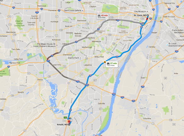 Arnold is about 20 miles southwest of St. Louis, MO. (Credit: Google)