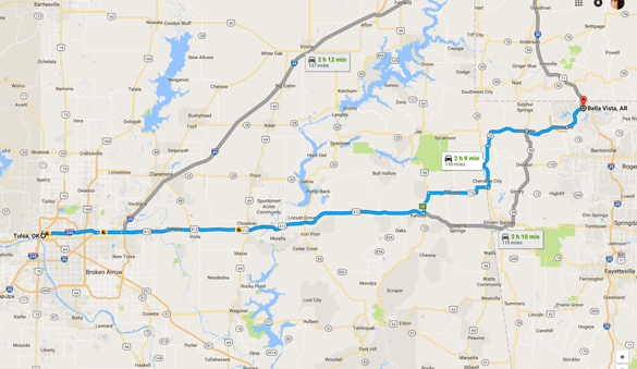 Belle Vista, AR, is about 120 miles northeast of Tulsa, OK. (Credit: Google)