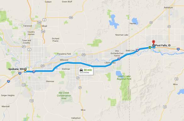 Post Falls, ID, is about 25 miles east of Spokane, WA. (Credit: Google)