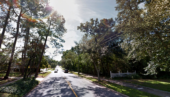 The witness had one red light at each of the three corners. Pictured: Moultrie, GA. (Credit: Google)
