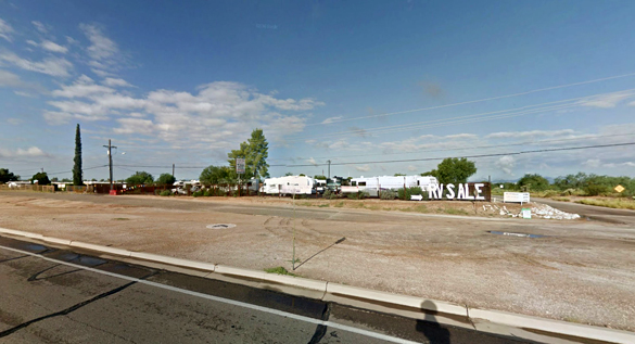 The witnesses pulled over in front of an RV business, pictured, where they saw the object about 400 feet off the ground. (Credit: Google)