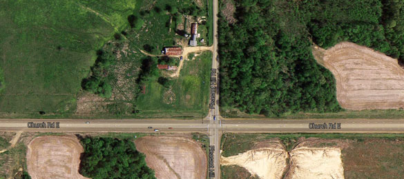 The witness said the object was less than 700 feet away and just 300 feet in the air when its lights went out and it disappeared. Pictured: The Pleasant Hill and Church Road intersection. (Credit: Google Maps)