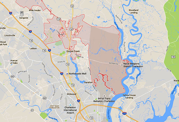 There are several military installations within a few miles of Goose Creek. (Credit: Google)