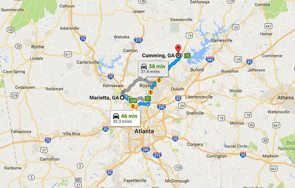 Cumming, GA, is about 40 miles northeast of Marietta. (Credit: Google)