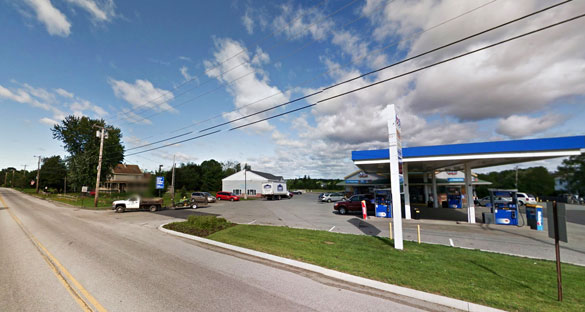 The witness described the object as triangular but with a round shape with smaller circles underneath. Pictured: Snow's Corner Gas Station in Orrington where the object was first seen. (Credit: Google Maps)