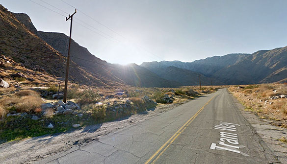 The red lit object eventually moved north of the helicopter and then disappeared from view. Pictured: Palm Springs Tramway area. (Credit: Google)