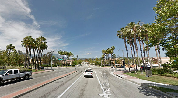 The object appeared to move along with the vehicle for about 10 to 15 seconds before disappearing. Pictured: Rancho Santa Margarita, CA. (Credit: Google)