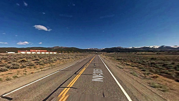 The object then disappeared as if a light switch had been thrown. Pictured: Near Austin, NV. (Credit: Google)