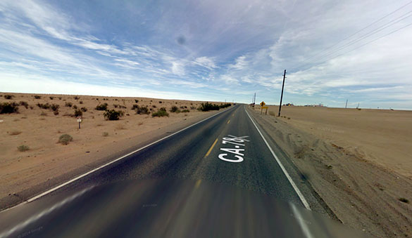 The object eventually vanished from view and the witness had an odd encounter with a man walking along the isolated roadway. Pictured: Imperial County, CA. (Credit: Google)
