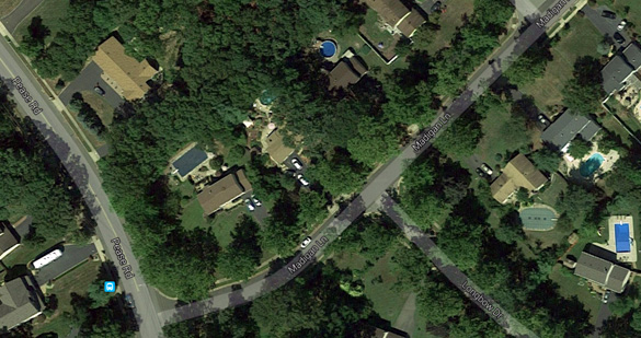 The observed object, according to the witness, was 'about 300 feet wide and 400 feet long.' Pictured: Madigan Lane in Manalapan Township, NJ. (Credit: Google Maps)