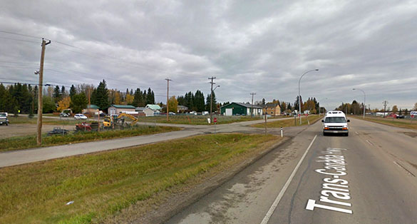 Once at her destination, the object briefly hovered over the property before moving away. Pictured: Edson, AB, Canada. (Credit: Google)