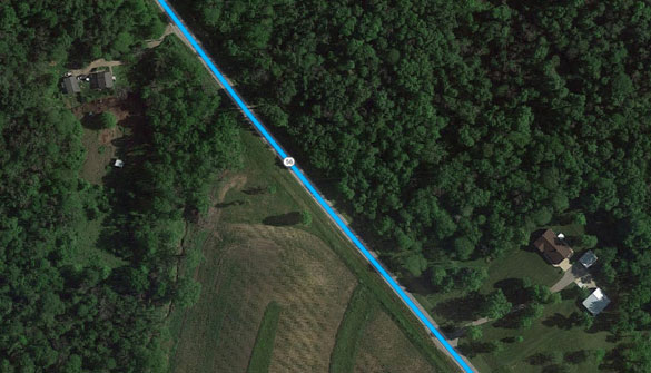 Family members were terrified during the UFO encounter along Route 56 between Sidney and London, Ohio, in April. (Credit: Google Maps)
