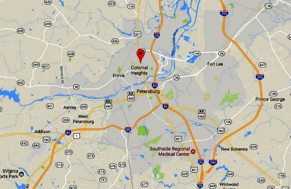 Colonial Heights is about 23 miles south of Richmond, VA. (Credit: Google)