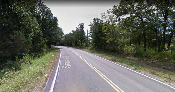 The witness had to pass directly under the object – which was hovering at the height of a tree line. Pictured: St. Francois County, MO. (Credit: Google)
