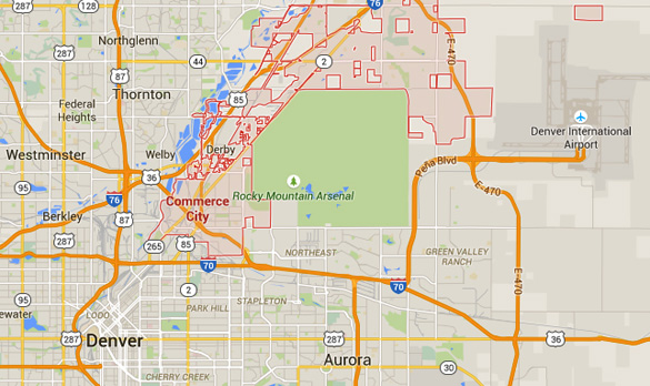 Commerce City is about seven miles northeast of Denver, CO. (Credit: Google Maps)