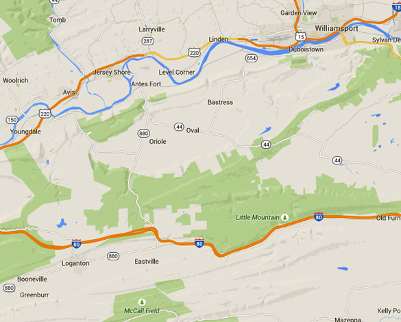 Loganton is about 33 miles southwest of Williamsport, PA. (Credit: Google Maps)