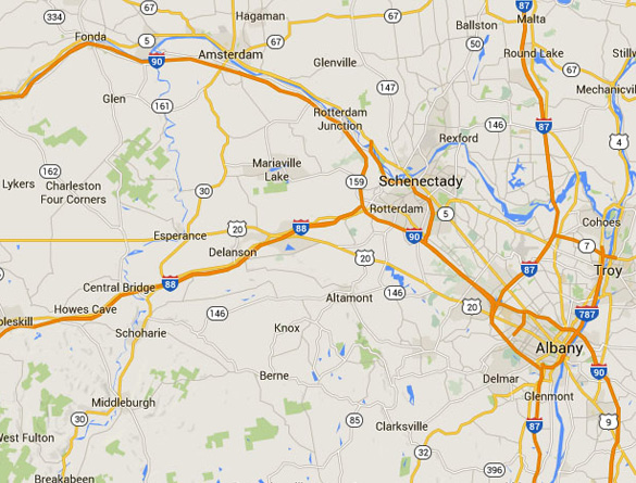 Howe Caverns is about 33 miles southwest of Schenectady, NY. (Credit: Google Maps)
