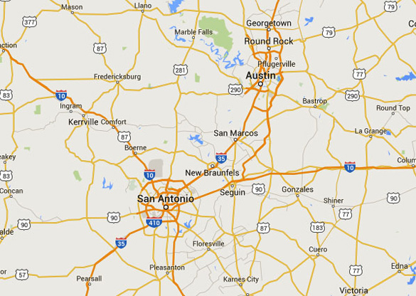Austin is about 80 miles northeast of San Antonio, TX. (Credit: Google Maps)