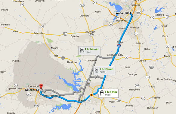 Killeen, TX, is about 60 miles southwest of Waco, TX. (Credit: Google)