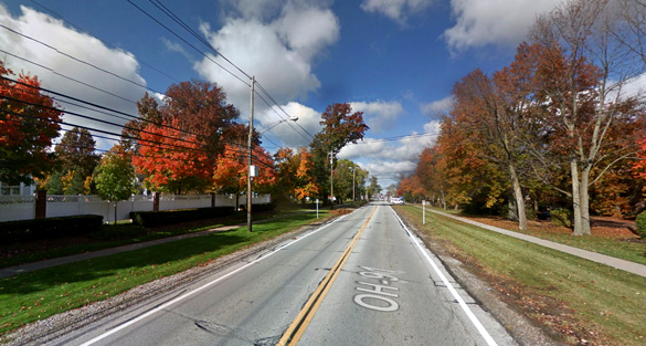 The objects made no sound and had no lighting as they moved overhead. Pictured: Mayfield Heights, Ohio. (Credit: Google)