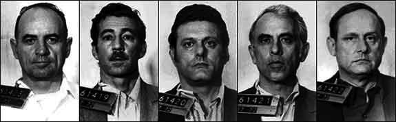 Douglas Caddy represented the Watergate burglars, pictured here. (Credit: Wikimedia Commons)