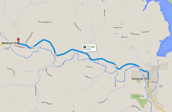 Metamora is about eight miles northwest of Brookville, IN. (Credit: Google Maps)