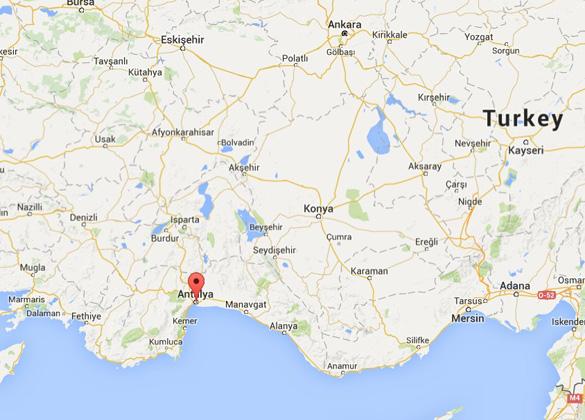 Map showing Antalya in Turkey. (Credit: Google)