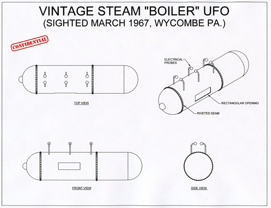Diagram by Michael Schratt of the UFO as described by the witness.