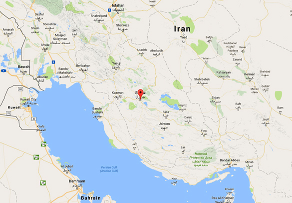 The Iranian witness said the low flying triangle UFO shone blue light on the area below. Pictured: Shiraz is in southwestern Iran. (Credit: Google)