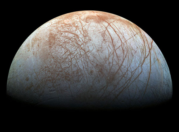 Jupiter's moon Europa, a world of ice and ocean. (Credit: NASA/JPL–Caltech/SETI Institute)