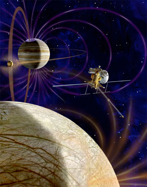 Concept of NASA's Jupiter Europa Orbiter. (Credit: NASA/ESA)